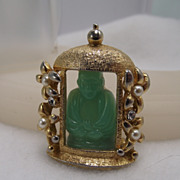 REDUCED Rare HOBE' Signed Buddha Brooch, Jade Glass Stone
