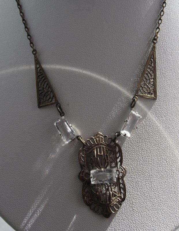 Awesome Art Deco Filigree Necklace, Crystal Stations!