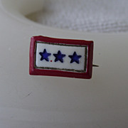 "REDUCED Very Rare Early Celluloid Plastic ""sons In Service"" Pin, Three Stars!"