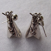 REDUCED Elaborate Detail, Native American Crafted Sterling TEEPEE Earrings!