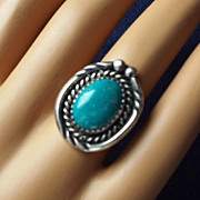 REDUCED Wonderful Navajo Crafted Sterling & Turquoise Ring, Size 5