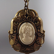 REDUCED Wonderful Mid Century Celluloid Cameo Pendant, Fancy Frame!