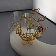 REDUCED Very Rare Spanish Galleon Figural Ship,  Handmade Wire Work!