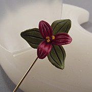 REDUCED Handmade Artisan Crafted Leather Floral Stickpin!