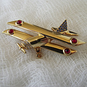REDUCED Swarovski Swan Logo Bi-Plane Brooch, Excellent Condition!
