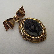 REDUCED 1940's CORO Bow Pin With A Lovely Molded Glass Cameo!