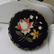 REDUCED Wonderful Larger Antique Pietra Dura Brooch, An Elegant Treasure!