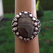 REDUCED Lost Wax Cast Sterling & Bull's Eye Agate Ring, Classic 60s Charm!