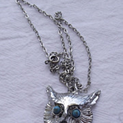 REDUCED Cute Classic 60s Owl Pendant With Faux Turquoise Stones