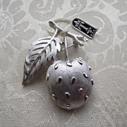 REDUCED Silvertone Cherry Figural Brooch With TRIFARI Hangtag!
