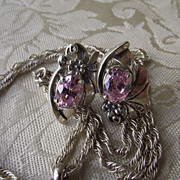 REDUCED Native American Crafted Sterling & Pink Ice CZ Post Earrings!