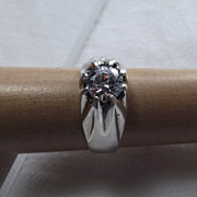 REDUCED Elegant Unisex Sterling Silver Vintage Ring Size 11, Classic Mounting!