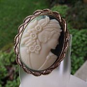 REDUCED Lovely Vintage Resin Cameo Brooch, Green Background