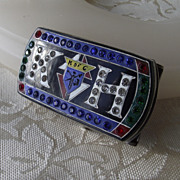 "REDUCED Unusual Vintage ""Knights Of Columbus"" Belt Buckle With Rhinestones!"