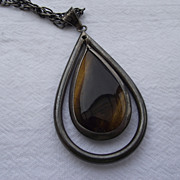 SALE Excellent Old TAXCO Mexico Sterling & Tiger Eye Pendant!