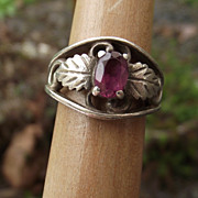 REDUCED Sterling & Plum Garnet Vintage Ring, Beautiful Design & Stone!