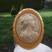 SALE Wonderful Butterscotch Bakelite Brooch With A Celluloid Cameo!