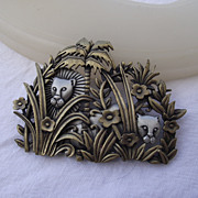 SALE Adorable Vintage Two Tone &quot;J.J.&quot; Jungle Scene Brooch, Fun!