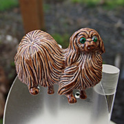 REDUCED So Cute! Enamel Pekingese Pooch Pin, Signed &quot;Gerry's&quot;