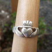 SALE Lovely Sterling Claddagh Ring, Very Good Condition, Size 8