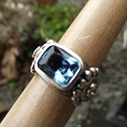 SALE Gorgeous Solid Sterling & Blue Topaz Gemstone Ring, Size 6