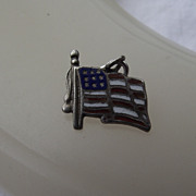 REDUCED Early Sterling And Enamel American Flag Charm Or Pendant
