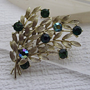 SALE LISNER Goldtone Brooch With Tourmaline Rhinestones!