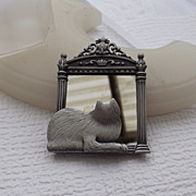 "SALE Darling Cat In The Mirror Brooch By ""J.J."", Jonette Jewelry Co.!"