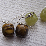 SALE Delightful Tiger Eye Gemstone Earrings, Apples!