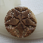 SALE Intricately Carved Myrtlewood Pin From Israel!