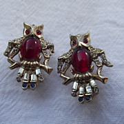 SALE Darling Pair Of 1940s Fancy Rhinestone OWL Pins!