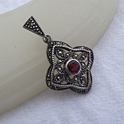SALE Beautiful Sterling & Marcasite Pendant, Bezel Set Garnet Gem!