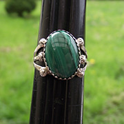 SALE Native American Crafted Sterling & Malachite Ring, Size 6