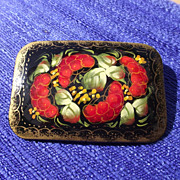 SALE Signed Russian Classic Lacquer Brooch, Cornucopia Motif