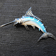 SALE Vintage Plastic Swordfish Brooch, 1950s - 60s