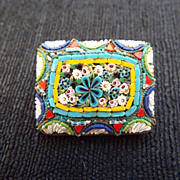 SALE Beautiful Early Century Micro Mosaic Brooch, Made In Italy