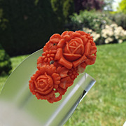 SALE Early Molded Plastic Dress Clip, Faux Coral