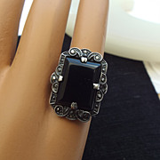 SALE Gorgeous Art Deco Sterling Marcasite and Onyx Rectangular Ring!