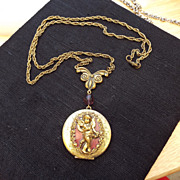 SALE PENDING Larger Vintage Cherub Motif Lavaliere Locket, Excellent!