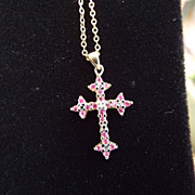 SALE Gold Vermeil & Ruby Cross Pendant Necklace, Excellent!