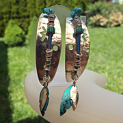 SALE Holly Yashi Vintage Sterling & Niobium Hoop Earrings, Very Cool!