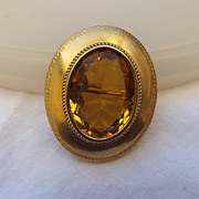 SALE Antique Victorian Brooch, Citrine Glass Stone, Fine Detail, Hallmarked!