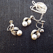 SALE 1940s Southseas Natural Platinum Pearl Set, Pendant & Earrings In Sterling!