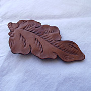 SALE Neat 60s Leather Leaf Brooch, Lovely Detail