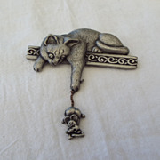 "SALE One Of My Favorite ""J.J."" Brooches, Cat With Mouse!"
