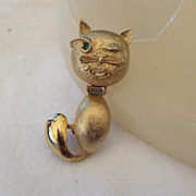 "SALE Rare ""PELL"" Winking Cat Brooch, Signed"