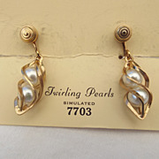 "SALE 1960 Sarah Coventry Inc. ""Twirling Pearls"" Earrings In The Original Box"