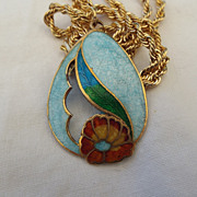 SALE Lovely Vintage Enamel Pendant, Wonderful Colors!