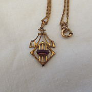 SALE 1920s Real Art Deco Lavaliere Pendant Necklace!