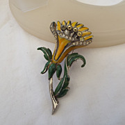 SALE CORO 40s TREMBLER Brooch With Enamel & Rhinestone Accents!